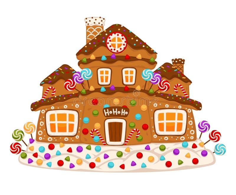 Vecteur décoré doux de nourriture de dessert de biscuit de maison de pain d'épice illustration de vecteur