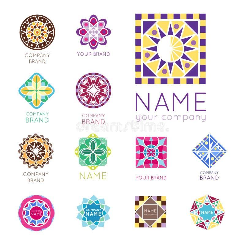 Vecteur décoratif de forme polygonale de kaléidoscope de la géométrie de société de marque de logo d'insigne de cercle triangulai illustration libre de droits