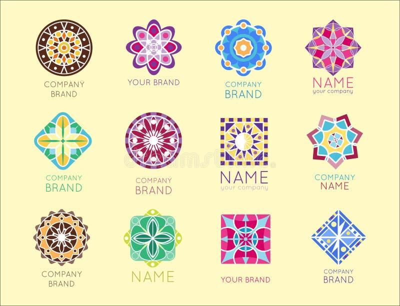Vecteur décoratif de forme polygonale de kaléidoscope de la géométrie de société de marque de logo d'insigne de cercle triangulai illustration stock