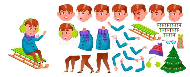 Vecteur d'écolier de garçon Écolier primaire Ensemble de création d'animation Bel enfant Vacances d'hiver Jeunesse, caucasienne illustration de vecteur