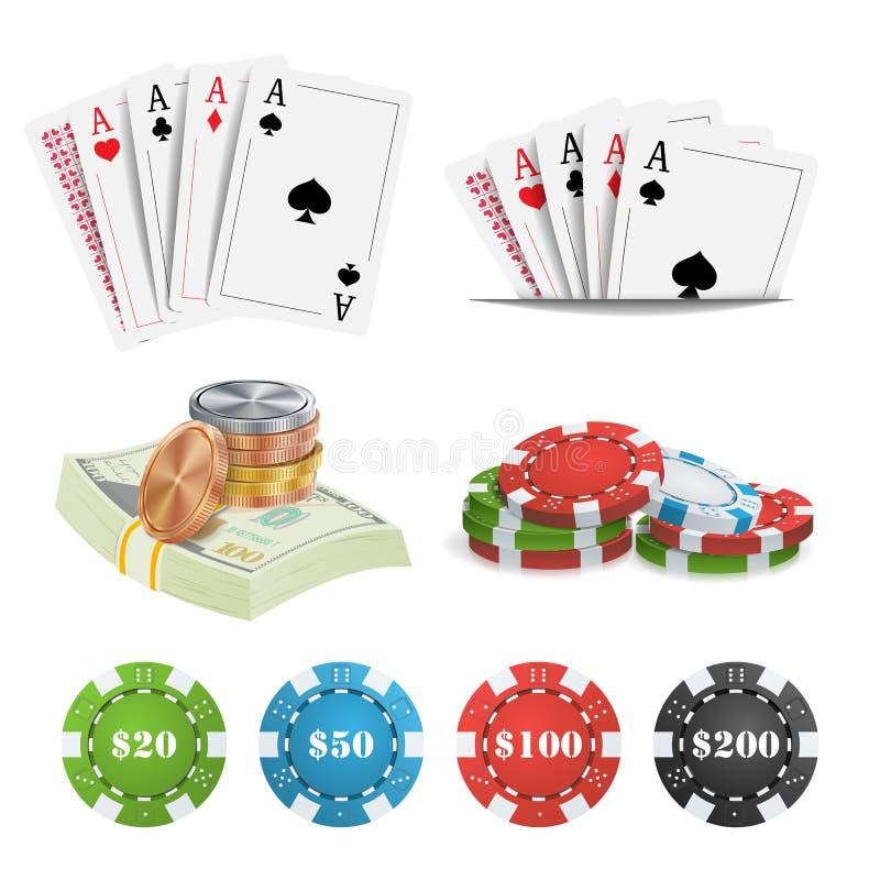 Vecteur d'éléments de conception de casino Cartes de tisonnier, puces, jouant les cartes de jeu Illustration d'isolement par gagn illustration libre de droits
