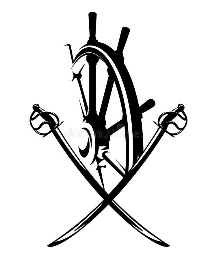Vecteur d'épées de sabre de barre et de pirate de bateau illustration de vecteur