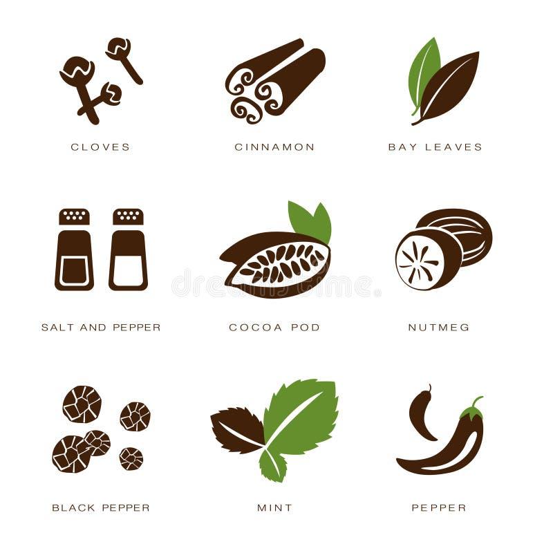 Vecteur d'épices, de condiments et d'herbes illustration stock