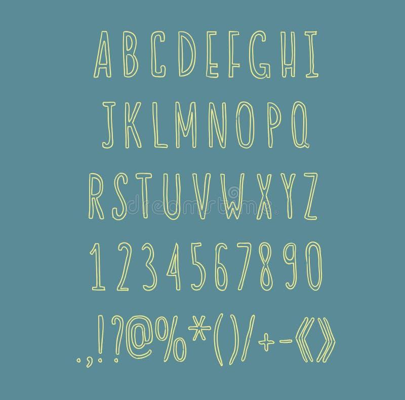Vecteur d'ABC d'écriture d'alphabet de dessin de main illustration stock