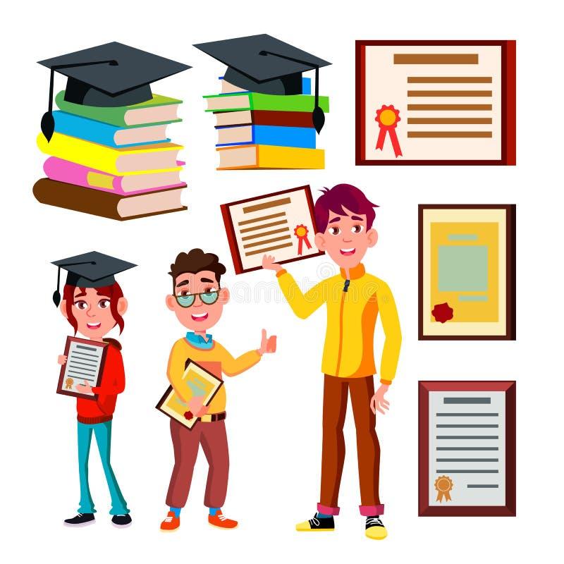 Vecteur d'Academic Qualification Certificate d'étudiant illustration stock