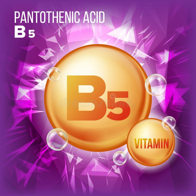 Vecteur d'acide pantothénique de la vitamine B5 Icône de pilule d'huile d'or de vitamine Icône organique de pilule d'or de vitami illustration libre de droits