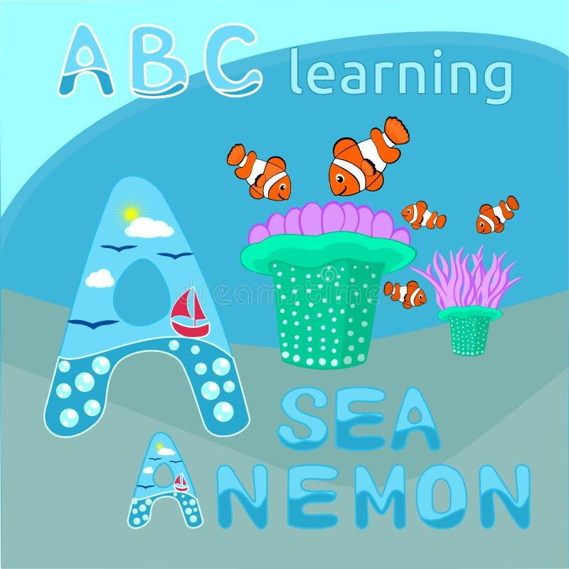 Vecteur d'actinie et de clownfishes, graphique de vecteur tropical de créatures de mer de bande dessinée d'illustration de thème  illustration stock