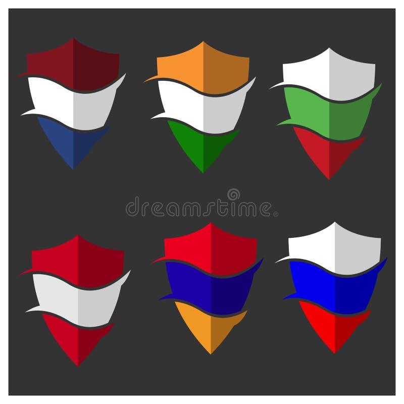 Vecteur d'actions de bouclier de drapeau Drapeau de l'Arménie, des Pays-Bas, de la Bulgarie, de l'Autriche, de la Russie et de l' illustration stock