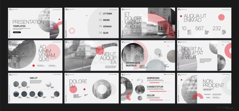 Vecteur d'affaires de la présentation Template Éléments géométriques rouges pour des présentations de diapositives sur un fond bl illustration de vecteur