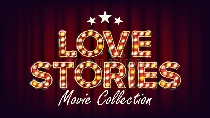 Vecteur d'affiche de collection de film d'histoires d'amour r Pour la conception de cinématographie moderne illustration stock