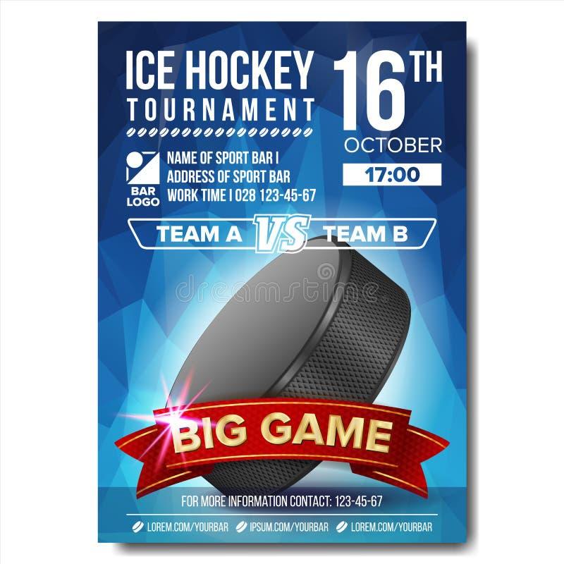 Vecteur d'affiche de hockey sur glace Galet de hockey sur glace Conception verticale pour la promotion de barre de sport Insecte  illustration libre de droits