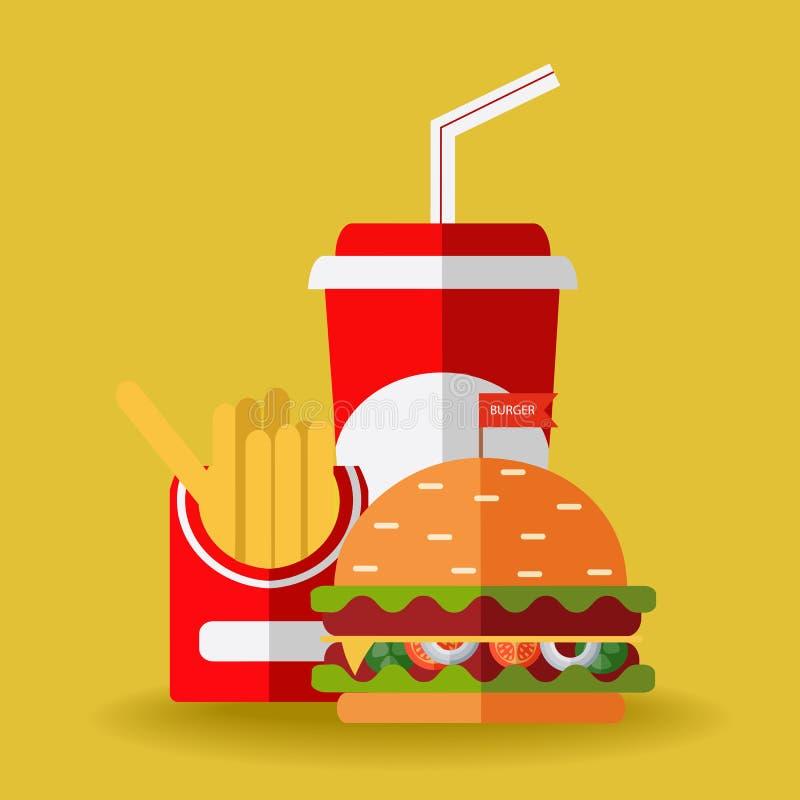 Vecteur d'aliments de préparation rapide Un groupe de repas de rapide amicaux illustration stock