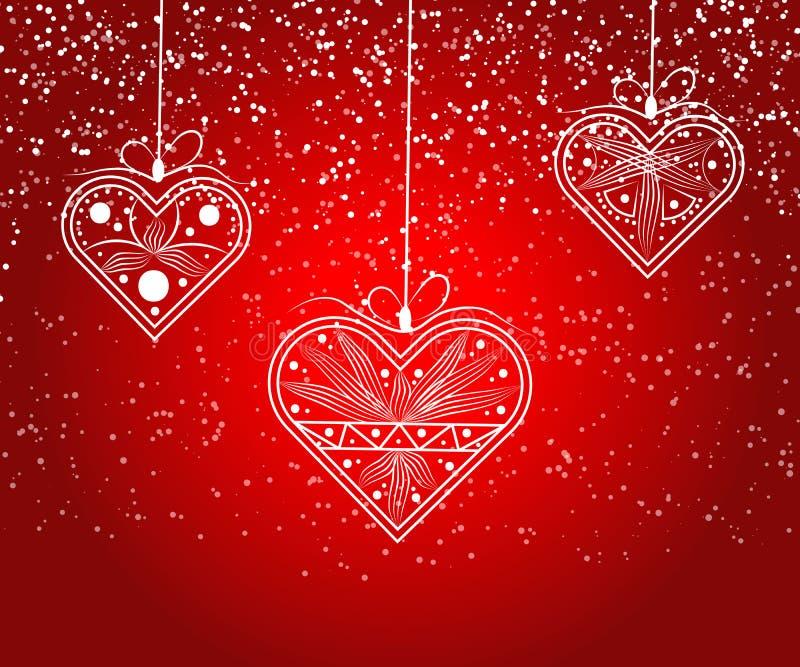 Vecteur d'amour de coeur Vecteur de coeurs d'amour de carte de Valentine Le croquis a conçu le coeur d'amours Vecteur rouge graph illustration libre de droits