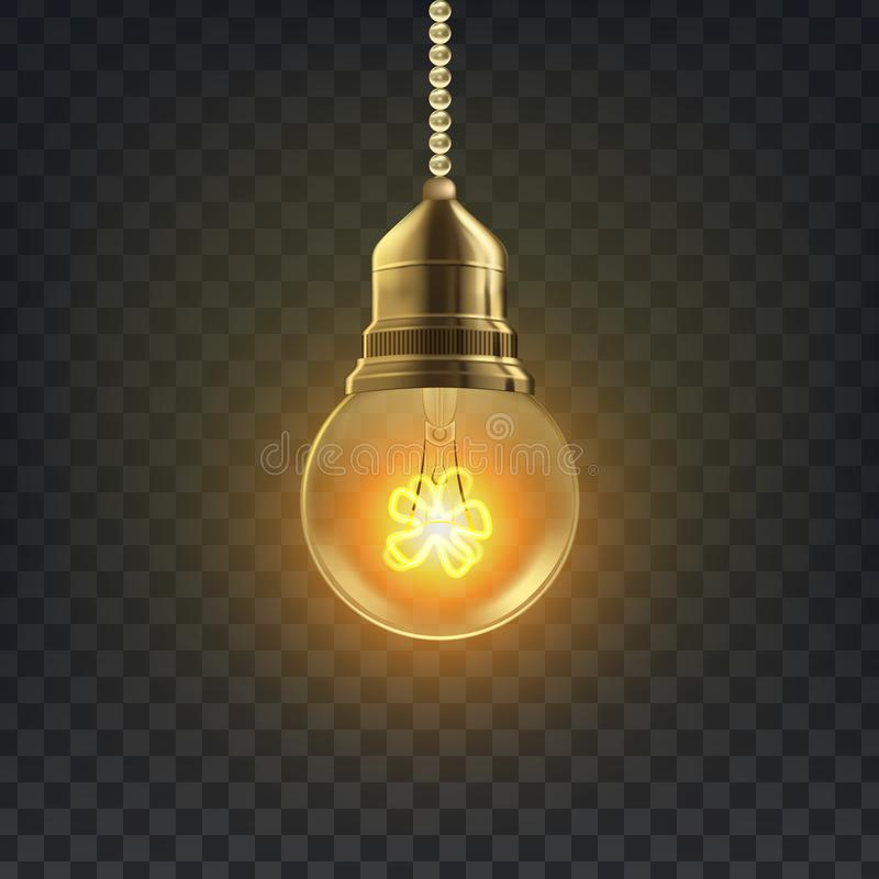 Vecteur d'ampoule Rétro symbole d'ampoule de grenier Décor graphique illustration 3D transparente réaliste illustration stock