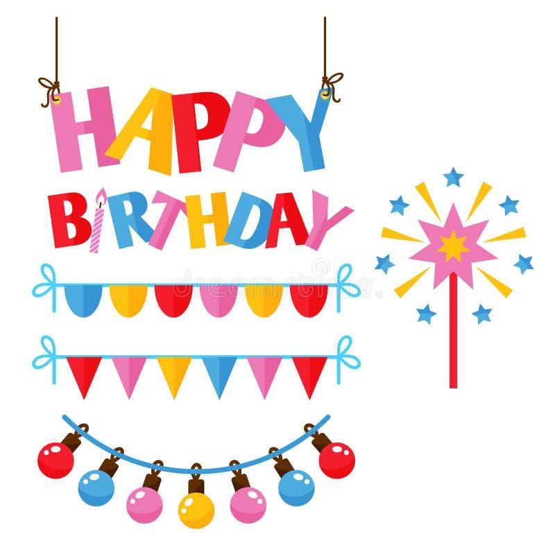 Vecteur d'anniversaire d'événement de décoration de surprise de joyeux anniversaire de célébration d'icônes de partie illustration de vecteur