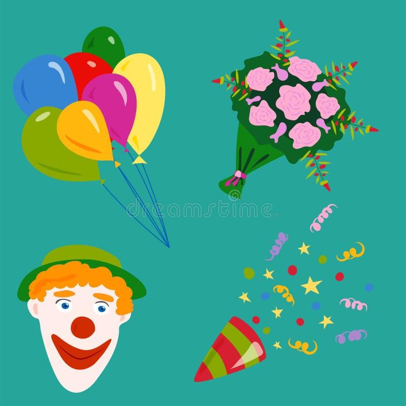 Vecteur d'anniversaire d'événement de cocktail de décoration de surprise de joyeux anniversaire de célébration d'icônes de partie illustration stock