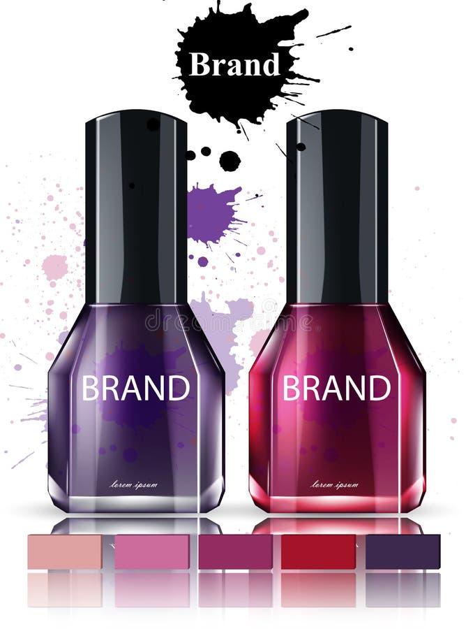 Vecteur d'aquarelle de cosmétiques de vernis à ongles Collection de marque de placement de produit illustration stock