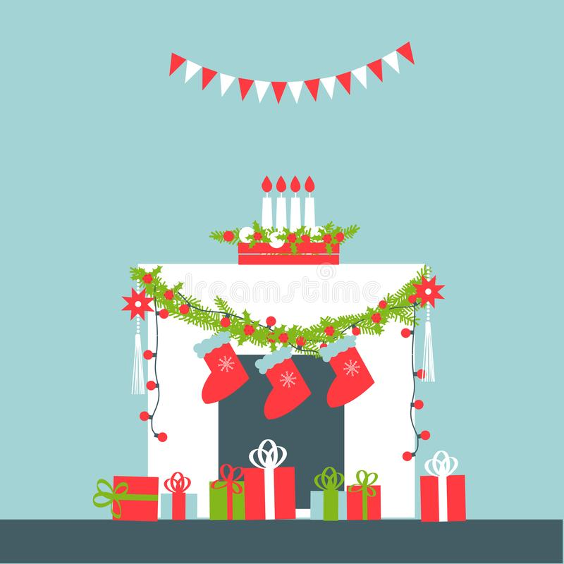 vecteur d'arbre d'illustration de format de cheminée de fichier des couples eps8 de Noël de dessin animé de fond d'AI Illustratio illustration stock