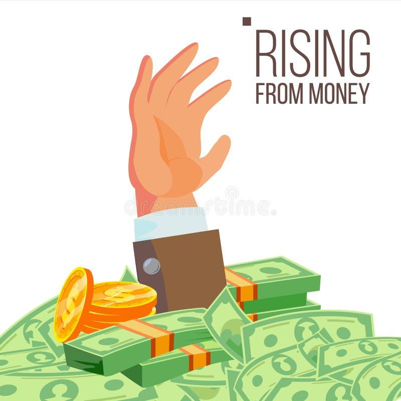 Vecteur d'argent de Hand Rising From d'homme d'affaires Illustration plate d'isolement illustration libre de droits