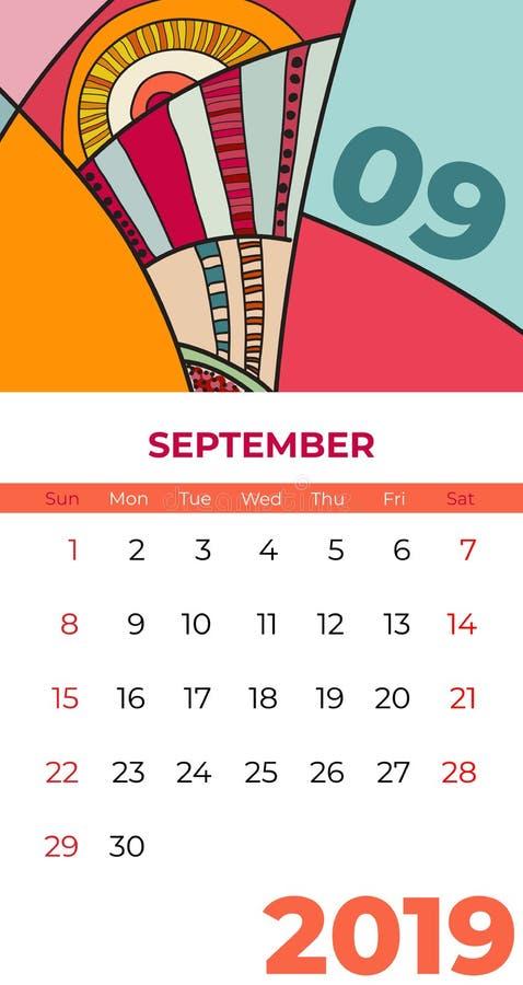 Vecteur d'art contemporain d'abr?g? sur calendrier de 2019 septembre Bureau, ?cran, mois de bureau 09,2019, calibre color? de 201 illustration libre de droits
