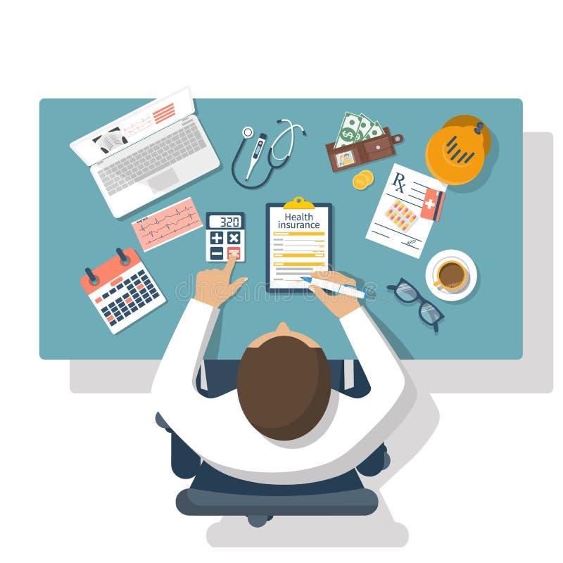 Vecteur d'assurance médicale maladie illustration libre de droits