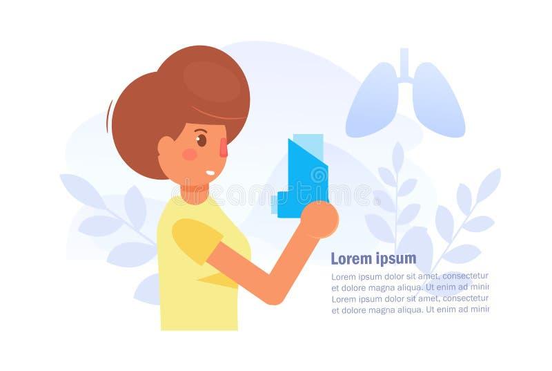 Vecteur d'asthme cartoon Art d'isolement sur le fond blanc illustration de vecteur