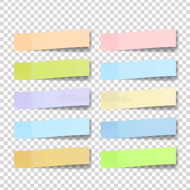 Vecteur d'autocollant de note de courrier Notes collantes de couleur illustration 3d réaliste illustration libre de droits