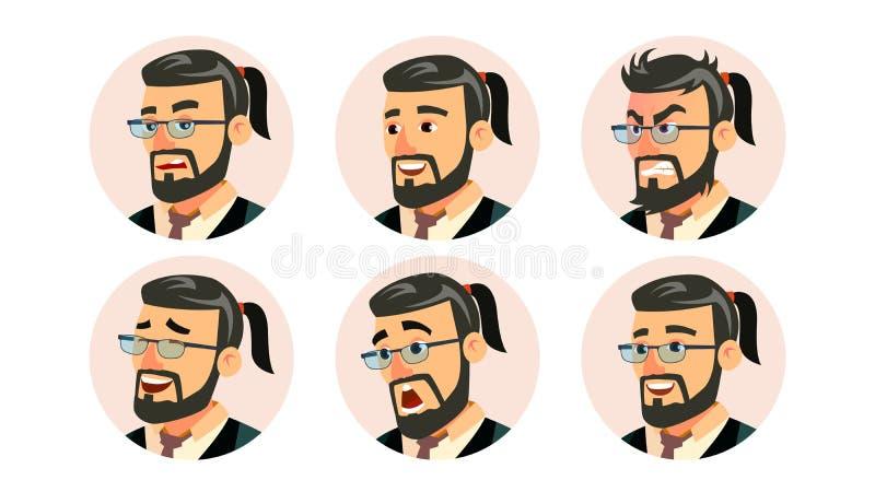 Vecteur d'avatar de Character Business People de Président de patron Patron barbu Man Face, émotions de bureau moderne réglées pl illustration libre de droits