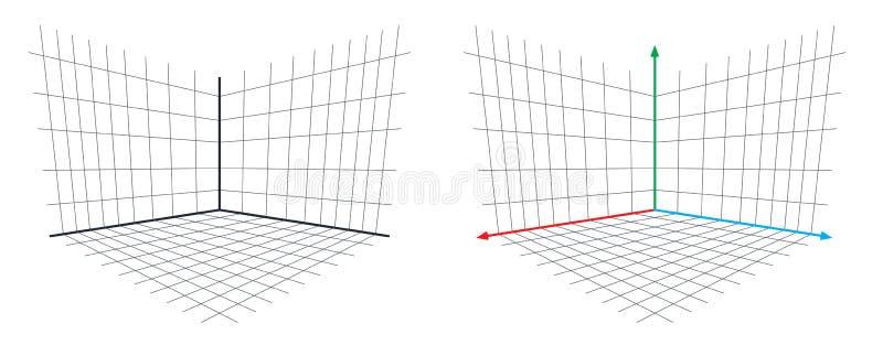 Vecteur d'axe de la perspective 3d de Matrix de projection d'OpenGL illustration libre de droits