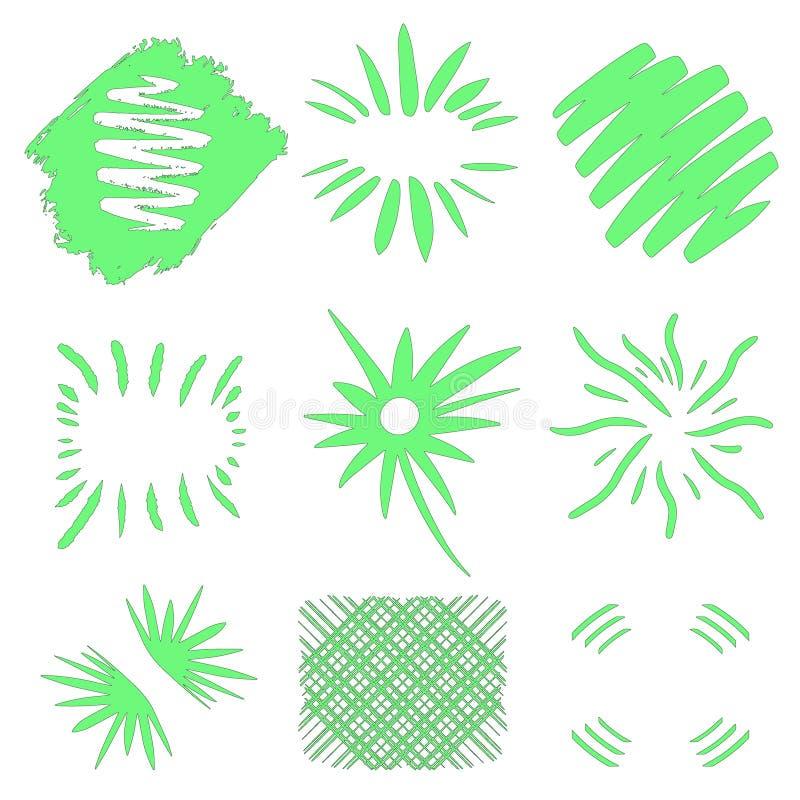 Vecteur d'?clats ?clats tir?s par la main du soleil sur le fond blanc Formes géométriques vertes au néon Grand ensemble de collec illustration libre de droits