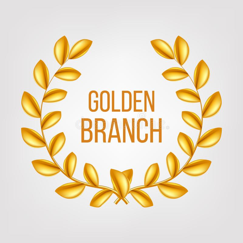 Vecteur d'or de branche Or Laurel Wreath Élément de conception de victoire de récompense illustration 3d réaliste illustration de vecteur