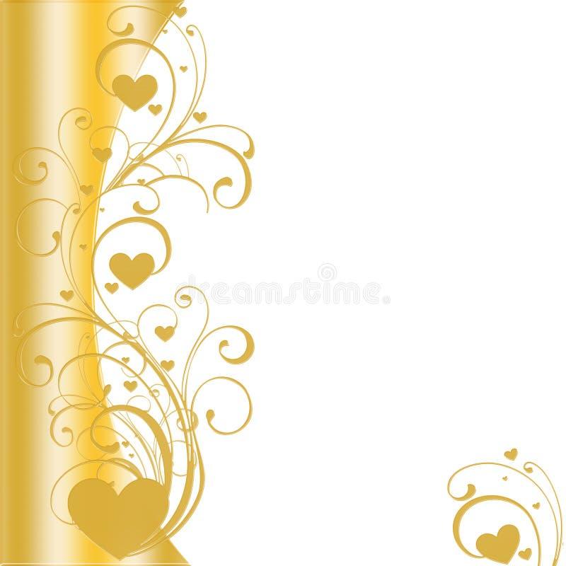 Vecteur d'or de cadre de coeur illustration de vecteur