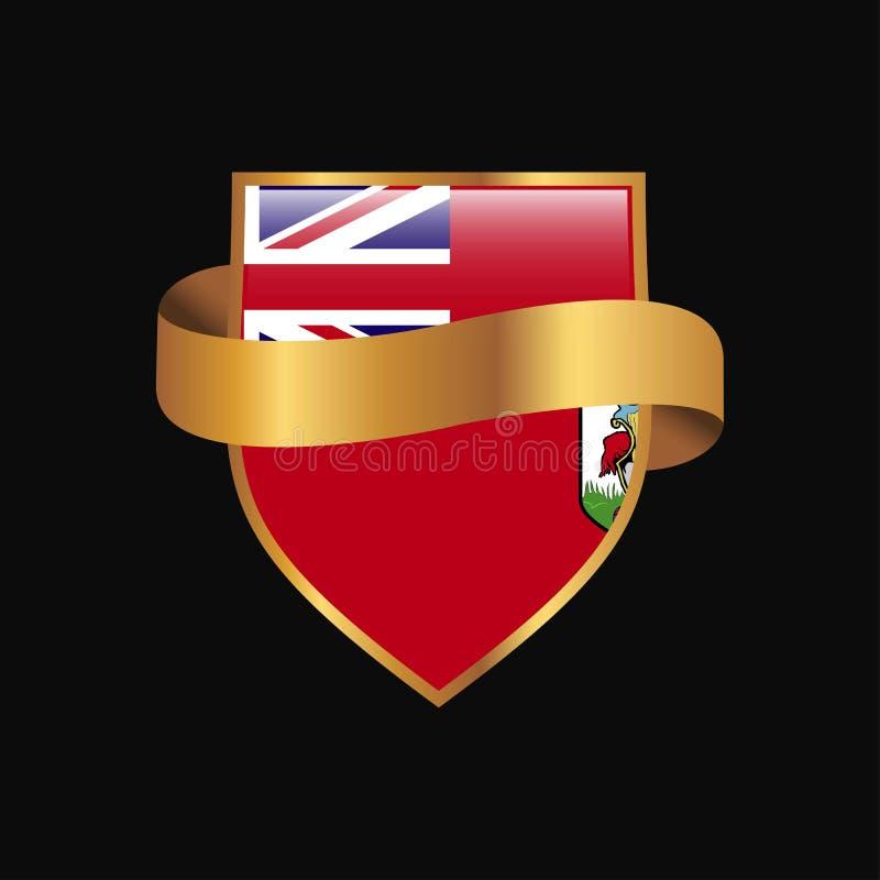 Vecteur d'or de conception d'insigne de drapeau des Bermudes illustration stock