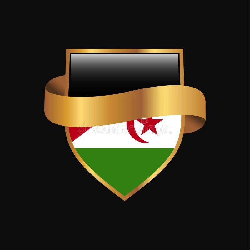 Vecteur d'or de conception d'insigne de drapeau de la Sahara occidental illustration de vecteur