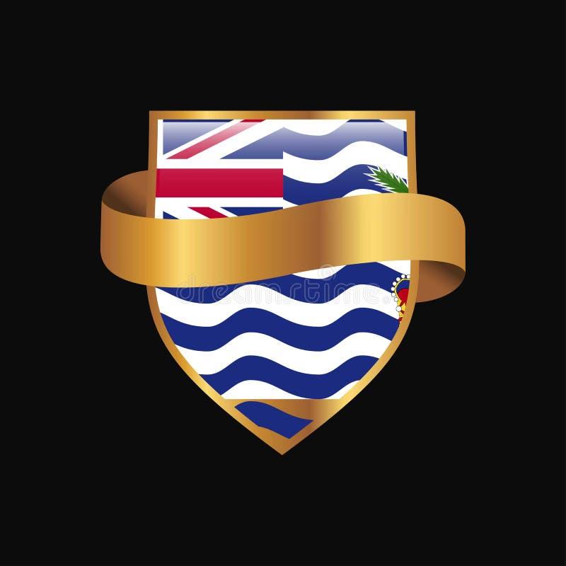 Vecteur d'or de conception d'insigne de drapeau de territoire d'Océan Indien britannique illustration libre de droits