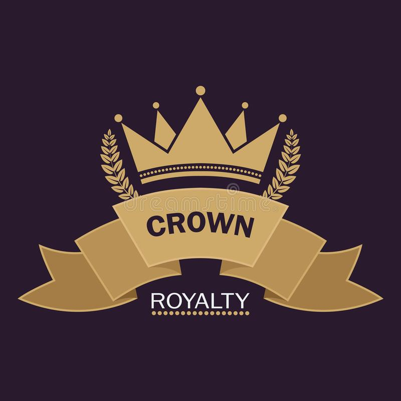 Vecteur d'or de couronne Conception de logo de schéma Symbole royal de vintage de puissance et de richesse illustration stock