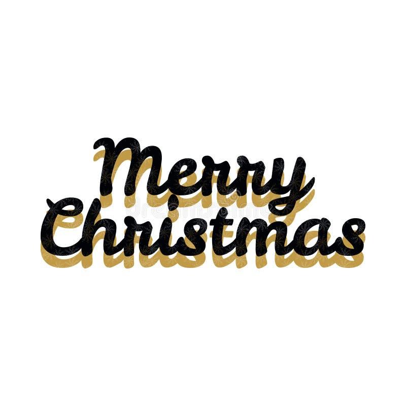 Vecteur d'or de logo d'année de Joyeux Noël photo libre de droits
