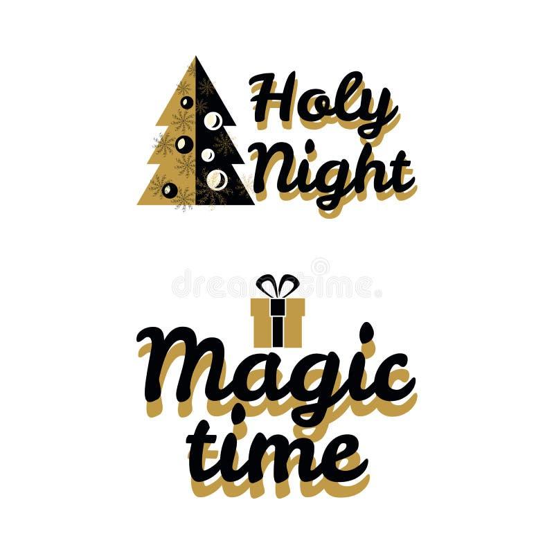 Vecteur d'or de logo d'année sainte de nuit photo stock