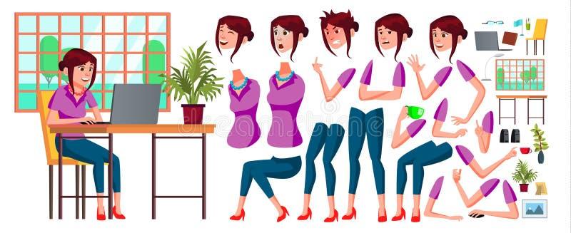 Vecteur d'employé de bureau Femme Commis heureux, employé, employé Humain d'affaires Émotions de visage, divers gestes animation illustration stock