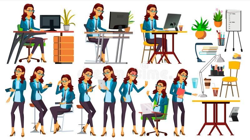 Vecteur d'employé de bureau Femme Commis heureux, employé, employé poses Humain d'affaires Émotions de visage, gestes secrétaire illustration libre de droits