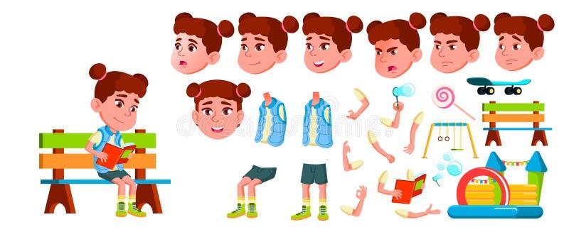 Vecteur d'enfant de jardin d'enfants de fille Ensemble de création d'animation Émotions de visage, gestes Petits enfants amicaux  illustration stock