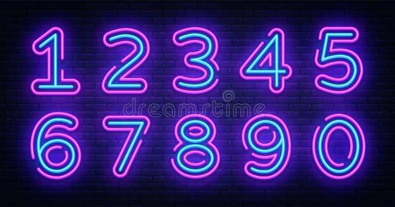 Vecteur d'enseigne au néon de collection de symboles de nombre Concevez l'icône au néon de calibre de nombre d'élément, bannière  illustration de vecteur