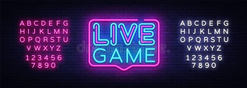 Vecteur d'enseigne au néon de Live Game Enseigne au néon de calibre de conception de Live Game, bannière légère, enseigne au néon illustration stock