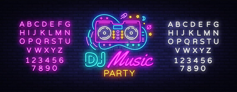 Vecteur d'enseigne au néon de musique du DJ Enseigne au néon de calibre de conception de partie de nuit, bannière saine de lumièr illustration de vecteur