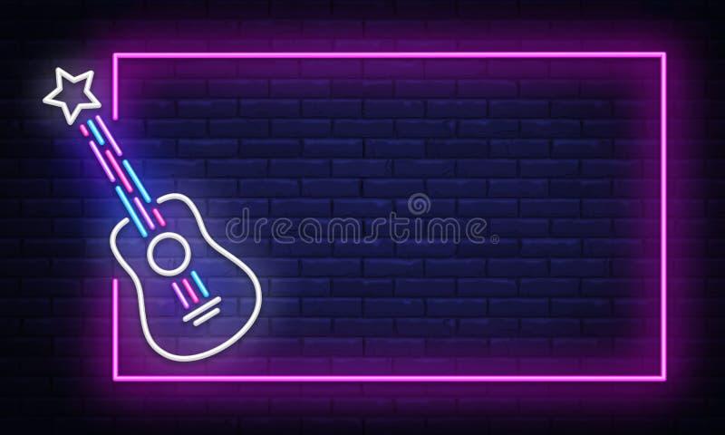 Vecteur d'enseigne au néon de musique rock Calibre au néon de conception de vedette du rock de vue, bannière légère, enseigne de  illustration libre de droits