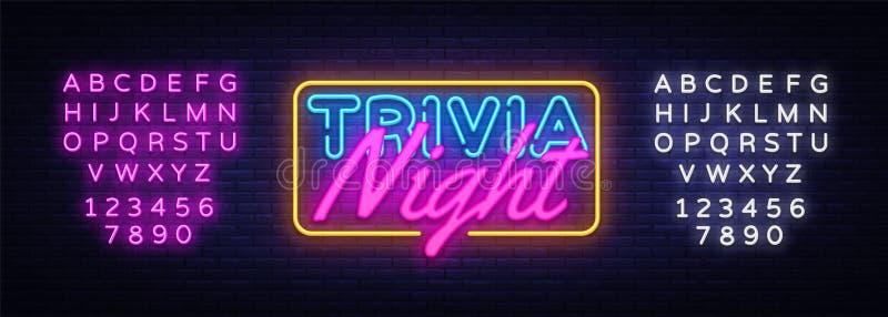 Vecteur d'enseigne au néon de nuit de baliverne Enseigne au néon de calibre de conception de temps de jeu-concours, bannière légè illustration stock