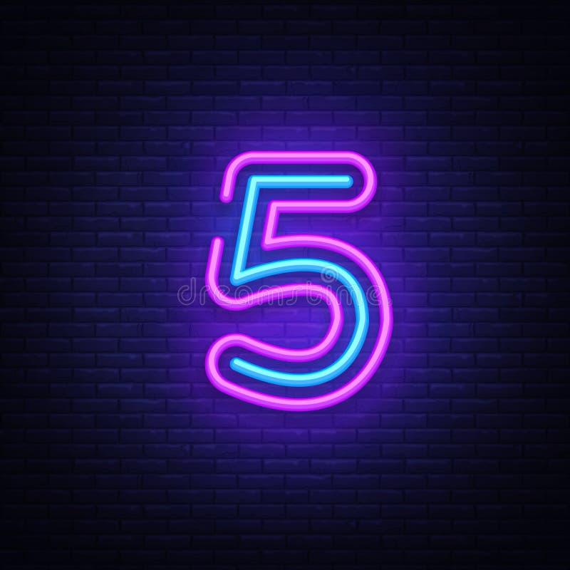 Vecteur d'enseigne au néon de symbole du numéro cinq Icône au néon de calibre du numéro cinq, bannière légère, enseigne au néon,  illustration stock
