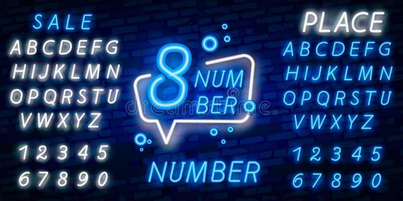 Vecteur d'enseigne au néon de symbole du numéro huit Huitième, icône au néon de calibre du numéro huit, bannière légère, enseigne photo stock