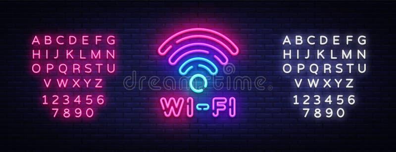 Vecteur d'enseigne au néon de Wifi Lettres rougeoyantes de néon de symbole de Wifi brillant, bannière légère, texte au néon Illus illustration stock