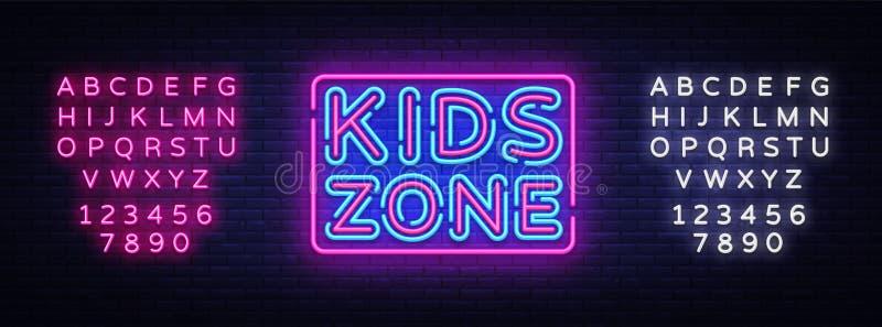 Vecteur d'enseigne au néon de zone d'enfants Enseigne au néon de calibre de conception de zone d'enfants, bannière légère, enseig illustration de vecteur